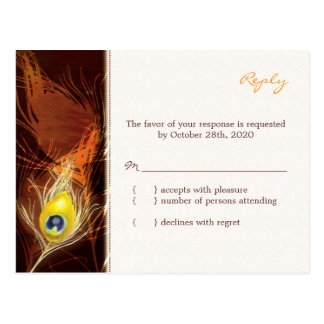 Gold Autumn Peacock Feather Wedding RSVP 4 25x5 6 Post Card