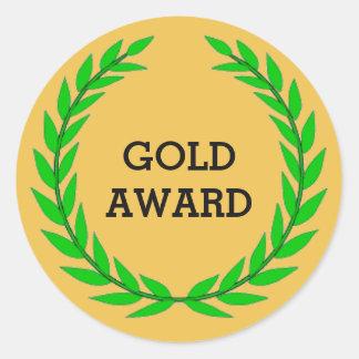 GOLD AWARD CLASSIC ROUND STICKER