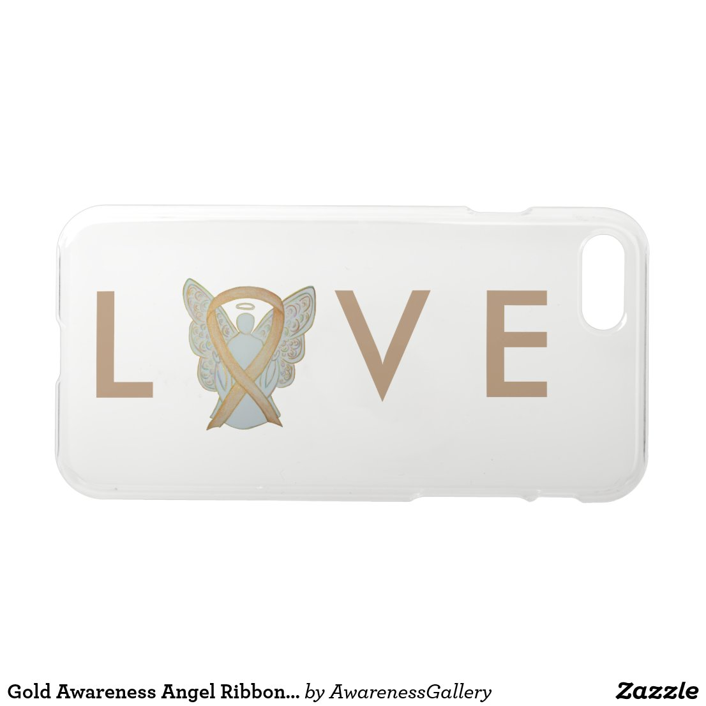 Gold Awareness Angel Ribbon Custom iPhone 7 Case