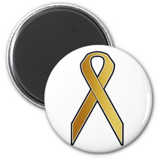 Gold Awareness Ribbon 2 Inch Round Magnet