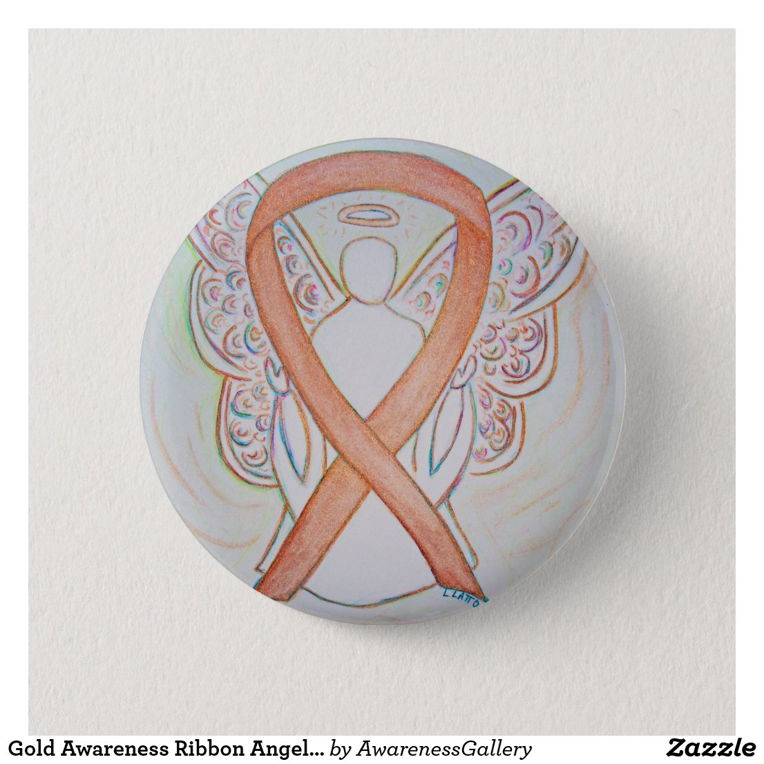 Gold Awareness Ribbon Angel Custom Art Button
