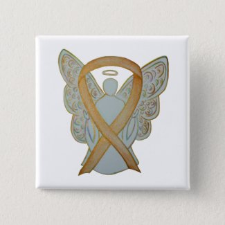 Gold Awareness Ribbon Angel Custom Art Pin