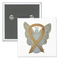 Gold Awareness Ribbon Angel Custom Art Pin