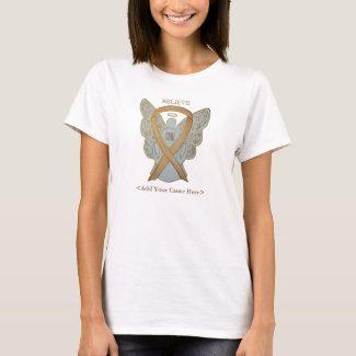 Gold Awareness Ribbon Angel Custom Cause Shirts