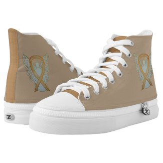 Gold Awareness Ribbon Angel Custom Design Shoes