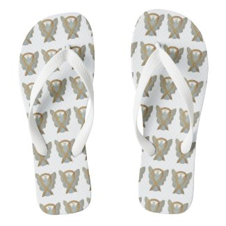 Gold Awareness Ribbon Angel Custom Flip Flops