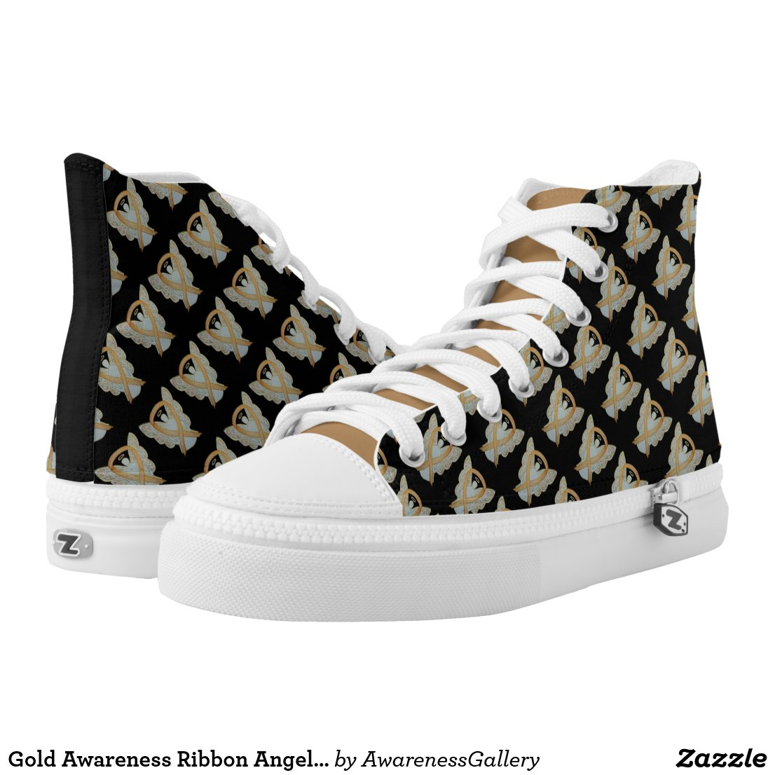 Gold Awareness Ribbon Angel Custom High Tops