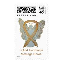 Gold Awareness Ribbon Angel Custom Postage Stamps