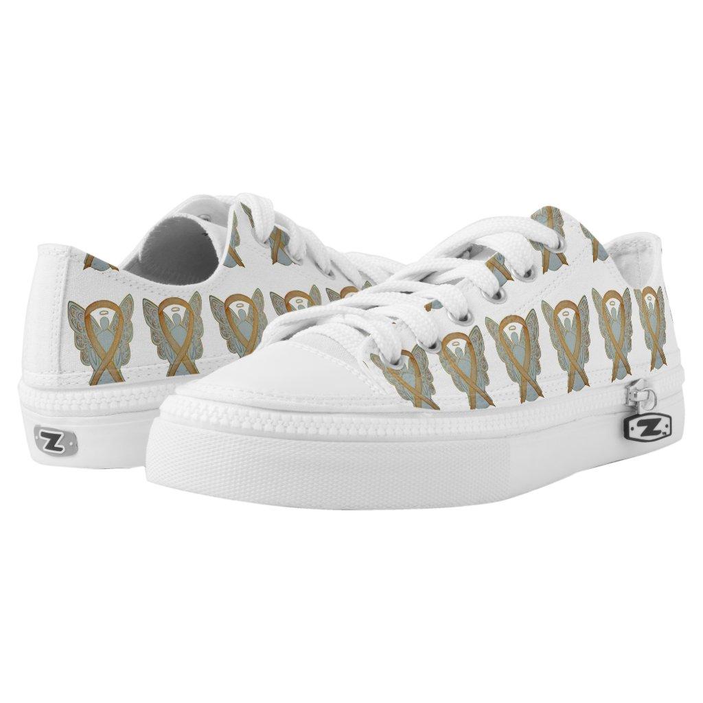 Gold Awareness Ribbon Angel Custom Sneakers