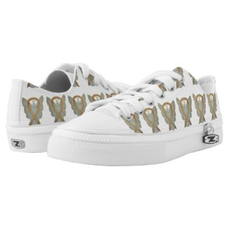 Gold Awareness Ribbon Angel Custom Sneakers