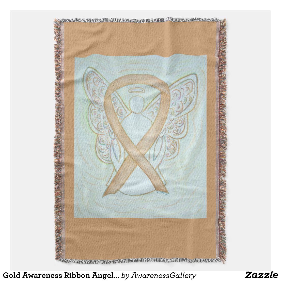 Gold Awareness Ribbon Angel Custom Throw Blanket
