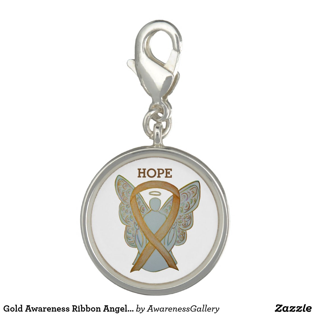Gold Awareness Ribbon Angel Jewerly Charm Bracelet