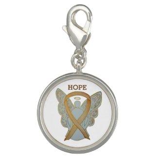 Gold Awareness Ribbon Angel Jewerly Charm Bracelet