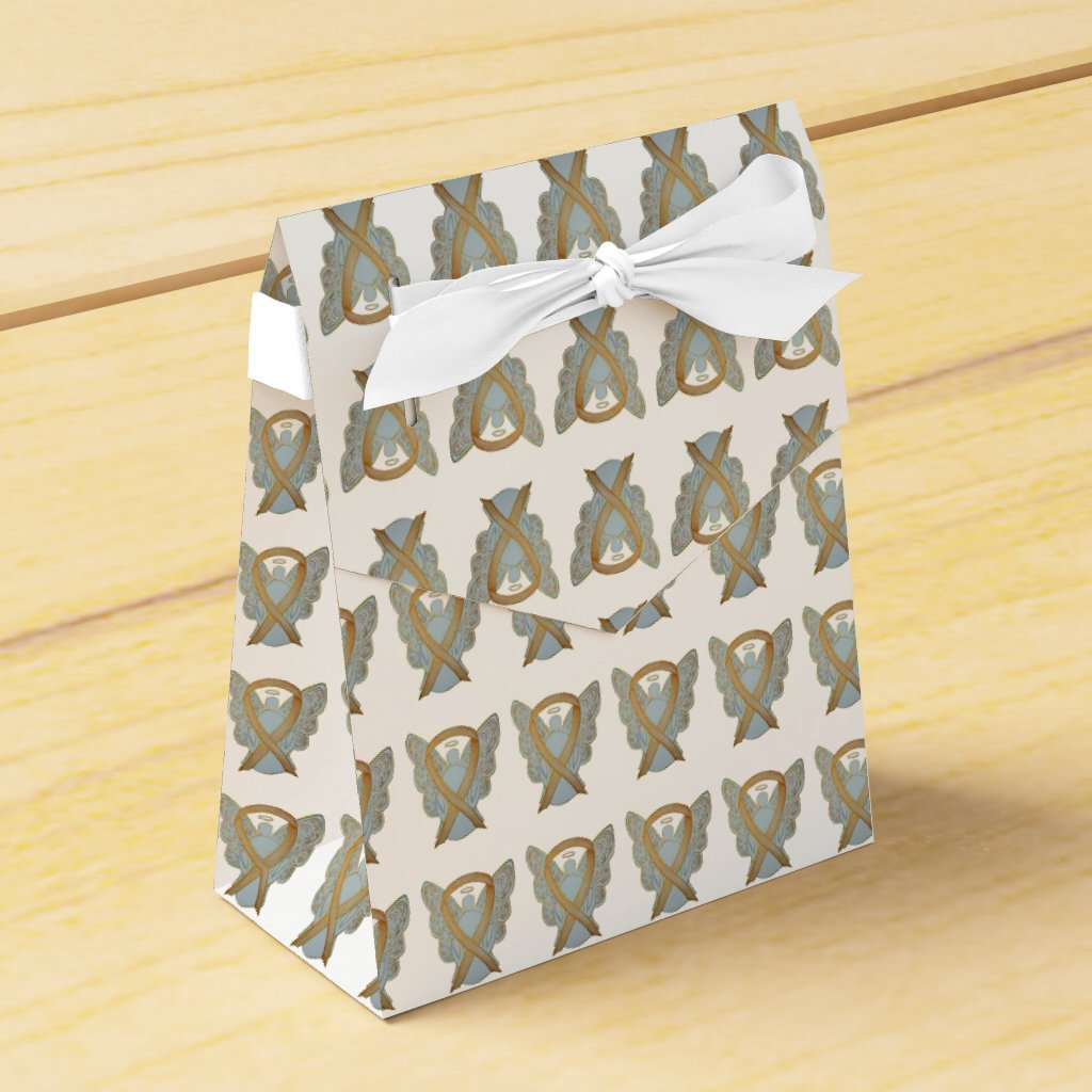 Gold Awareness Ribbon Angel Party Favor Boxes