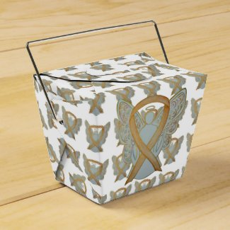 Gold Awareness Ribbon Angel Take Out Favor Boxes