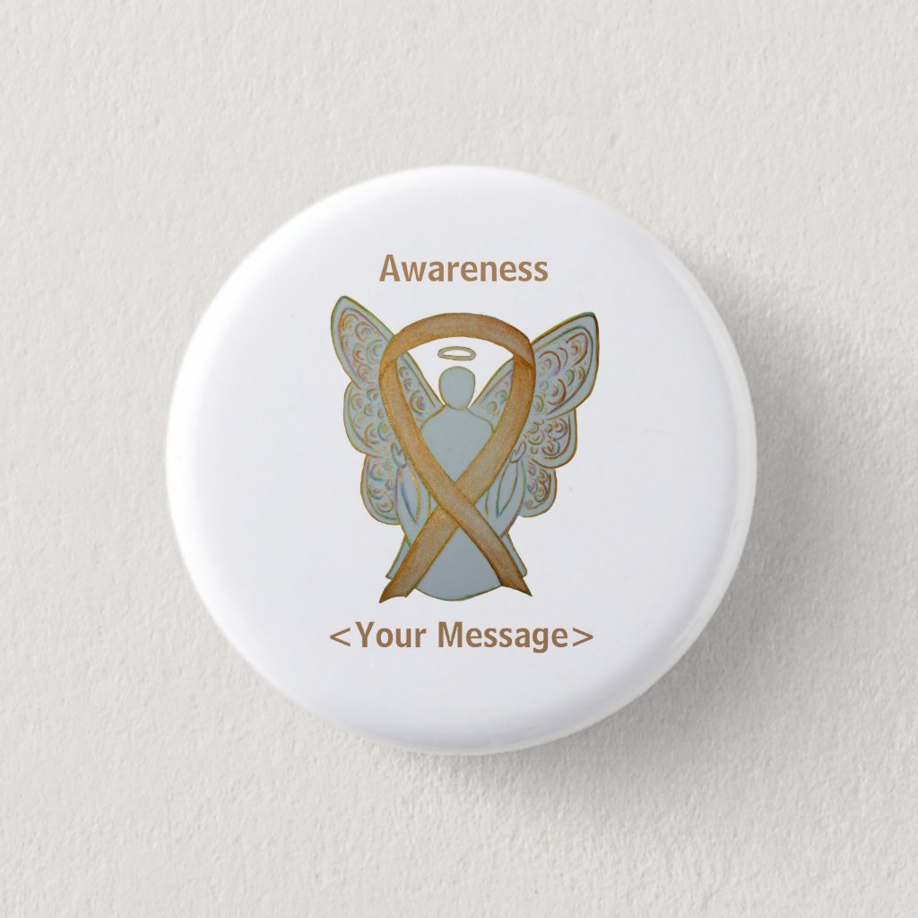 Gold Awareness Ribbon Childhood Cancer Angel Pin
