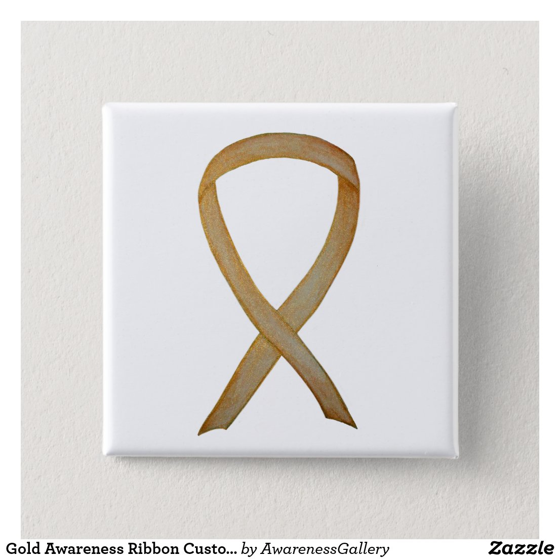 Gold Awareness Ribbon Custom Art Pin