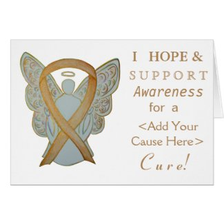 Gold Awareness Ribbon Custom Cause Angel Cards