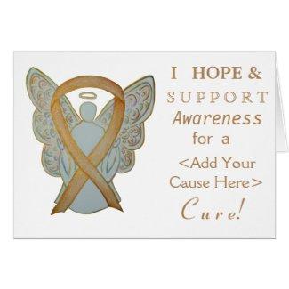 Gold Awareness Ribbon Custom Cause Angel Cards