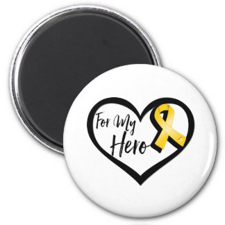 Gold Awareness Ribbon For My Hero 2 Inch Round Magnet