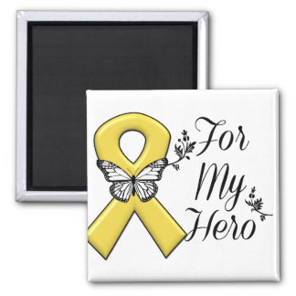 Gold Awareness Ribbon For My Hero 2 Inch Square Magnet