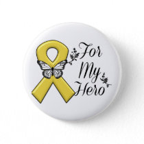 Gold Awareness Ribbon For My Hero Button