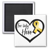 Gold Awareness Ribbon For My Hero Magnet