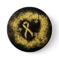 Gold Awareness Ribbon Grunge Heart Button