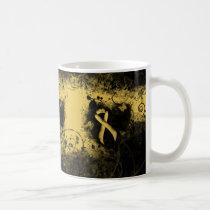 Gold Awareness Ribbon Grunge Heart Coffee Mug