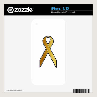 Gold Awareness Ribbon iPhone 4 Decal