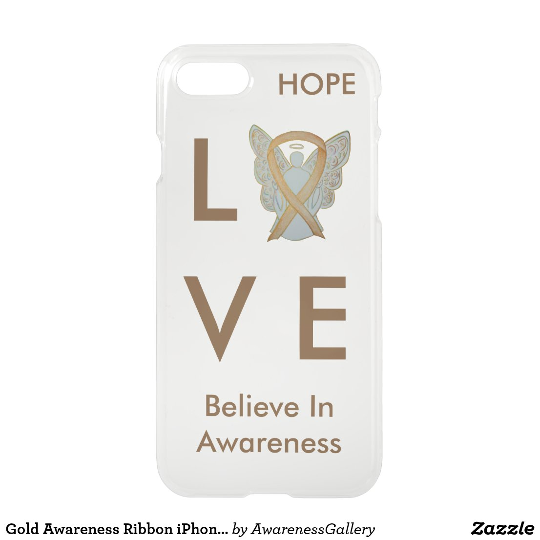 Gold Awareness Ribbon iPhone Custom 7 Angel Case