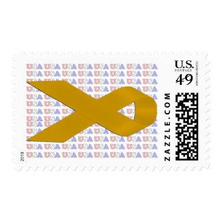 Gold Awareness Ribbon Postage
