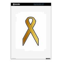 Gold Awareness Ribbon Skin For iPad 2