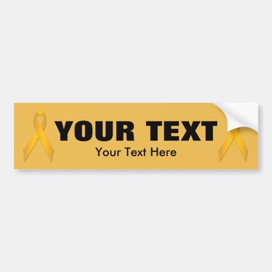 Gold Awareness Ribbon Template Bumper Sticker