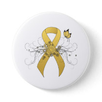 Gold awareness Ribbon with Butterfly Pinback Button