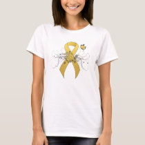 Gold awareness Ribbon with Butterfly T-Shirt