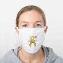 Gold awareness Ribbon with Butterfly White Cotton Face Mask