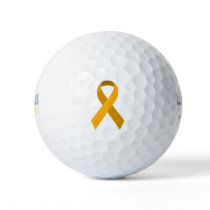 Gold Awareness Support Ribbon Golf Balls