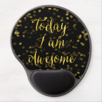 Gold Awesome Quote Faux Foil Confetti Background Gel Mouse Pad