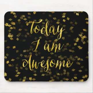 Gold Awesome Quote Faux Foil Confetti Background Mouse Pad
