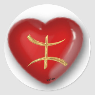 Gold aza red heart classic round sticker