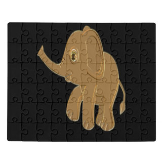 Gold baby elephant looking into the sky jigsaw puzzle