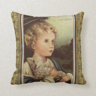 Gold Baby Jesus holding Lamb w/Latin words Throw Pillow