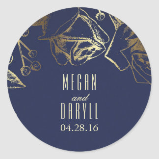 Gold Baby's Breath and Roses Navy Wedding Classic Round Sticker