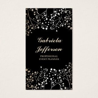 Gold Baby's Breath Black Style Elegant Business Card