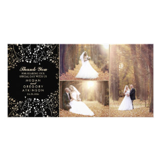 Gold Baby's Breath Black Wedding Photo Thank You Card