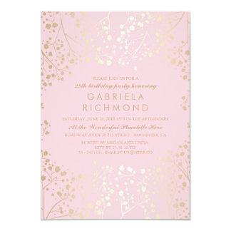 Gold Baby's Breath Elegant Pink Birthday Party Card