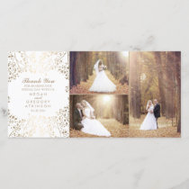 Gold Baby's Breath Elegant Wedding Photo Thank You