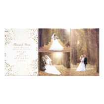 Gold Baby's Breath Elegant Wedding Photo Thank You Card