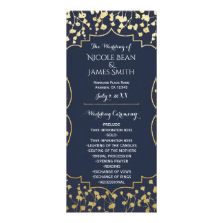 Gold Baby's Breath Floral Blue Wedding Program